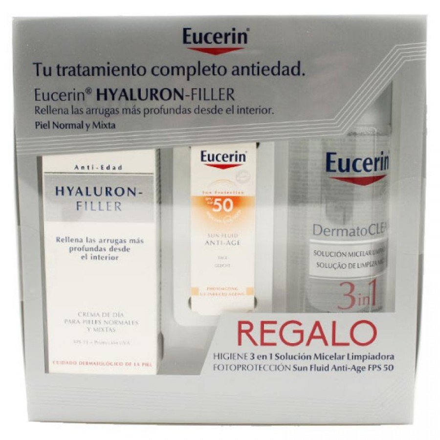 EUCERIN. PACK. HYALURON FILLER + AGUA MICELAR + ANTIAGE